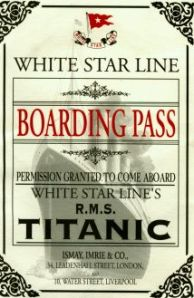titanic boarding pass with ship